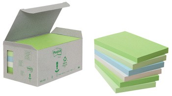 3M Post-it bloc repositionnable recycle - 76 x 76 mm - pastel