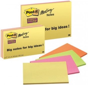 Bloc-note Post-it 3M Super Sticky Meeting - 98 x 149 mm - 4 couleurs