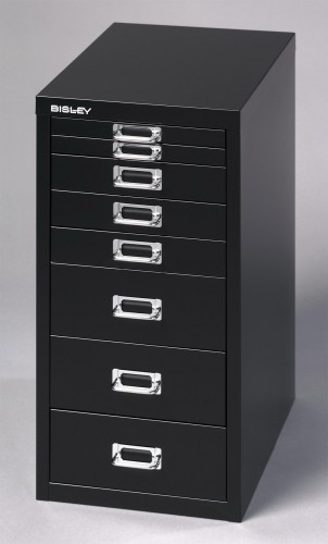 colonne basis 8 tiroirs a4 hauteur 59 cm noir. Black Bedroom Furniture Sets. Home Design Ideas