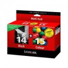 Cartouches Lexmark  Return Paquet combi - N° 14 + N° 15