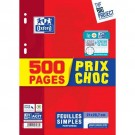 Feuilles simples Oxford  - A4 - grand carreau - 90 gr - 500 pages - promo