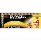 Piles DURACELL alcaline PLUS POWER AAA - 20 + 4 GRATUITS