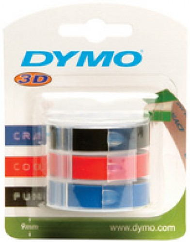 Ruban 3D Dymo Junior Omega - 9 mm - 3 pièces - assortis