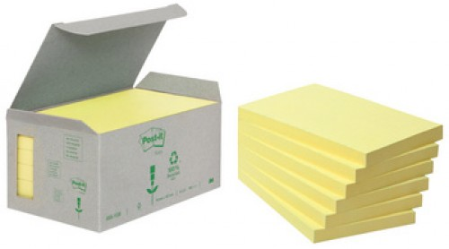 3M Post-it Notes adhésives recyclé Notes - 127x76mm - jaune
