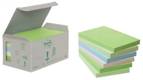 3M Post-it bloc repositionnable recycle - 38 x 51 mm - 6 paquets - pastel