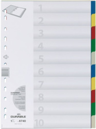 Durable Intercalaire plastique - format A4 - PP - 10 onglets