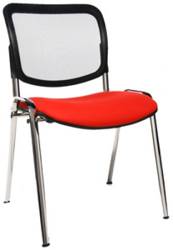 chaise-4-pieds-dossier-resille-rouge