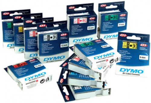 Cassette ruban D1 titreuse Dymo - 12 mm - bleu / transparent