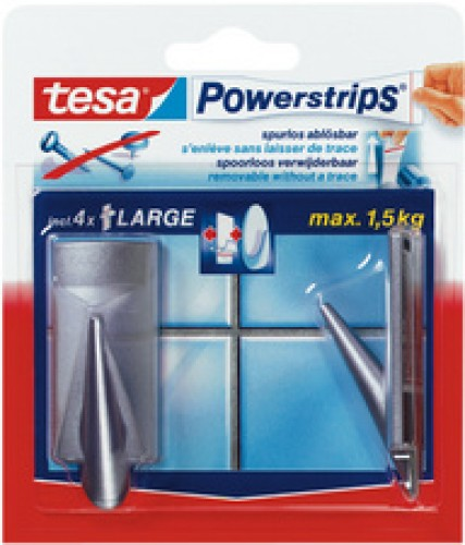 Tesa Powerstrips crochets Large - classique - chrome