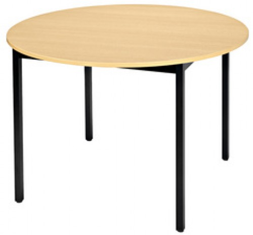 grande table ronde diam tre 120 cm pi tement noir plateau h tre. Black Bedroom Furniture Sets. Home Design Ideas