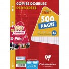 Copies doubles perforées A4 - grand carreau - 500 pages - Clairefontaine