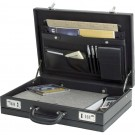 Mallette attaché case verrouillable - simili cuir - noir