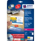Cartes de visite Avery - 84 x 54 mm - satin - 220g - 250 cartes