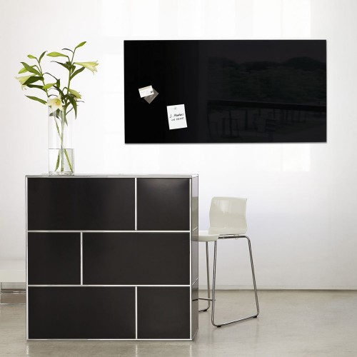 grand tableau en verre 130 x 55 cm noir. Black Bedroom Furniture Sets. Home Design Ideas