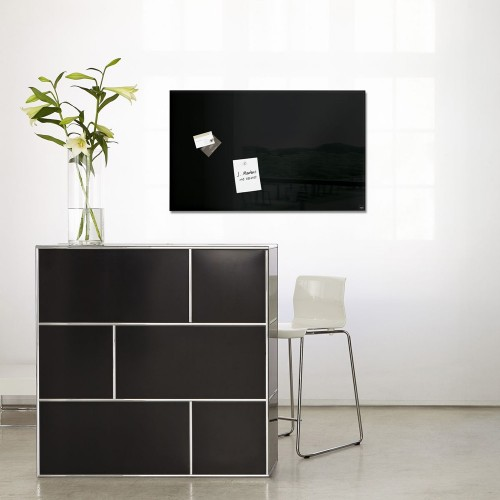 tableau magn tique en verre 78 x 48 cm noir. Black Bedroom Furniture Sets. Home Design Ideas
